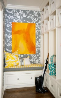 Mudroom Wallpaper - Transitional - laundry room - Tobi Fairley