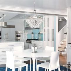 Round Glass Kitchen Tables Countertop Prices Bling Chandelier - Contemporary Dining Room Cottage ...
