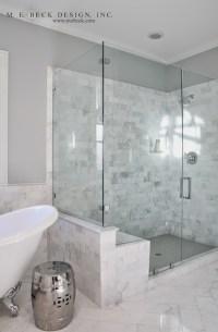 Carrera Marble Shower Tiles - Transitional - bathroom - M ...
