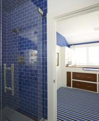 Blue Subway Tiles - Cottage - bathroom - Lynn Morgan Design