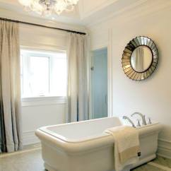 Wallpaper For Kitchens Yellow And Gray Kitchen Curtains Mirror Over Bathtub - Transitional Bathroom Tomas ...