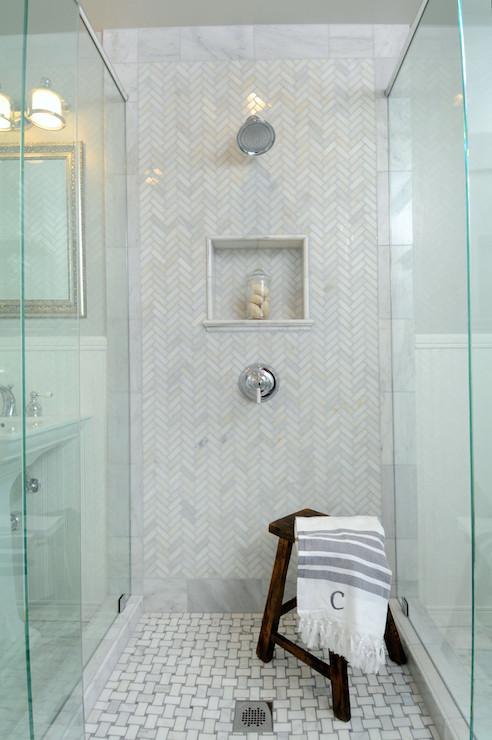 Polished Carrera Shower Tiles  Transitional  bathroom