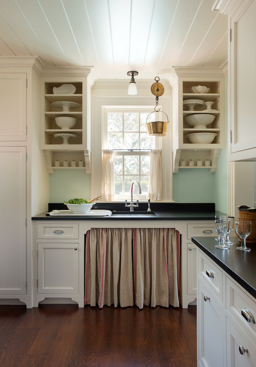 FRsoted Glass Cabinets  Vintage  kitchen  The Elegant Abode