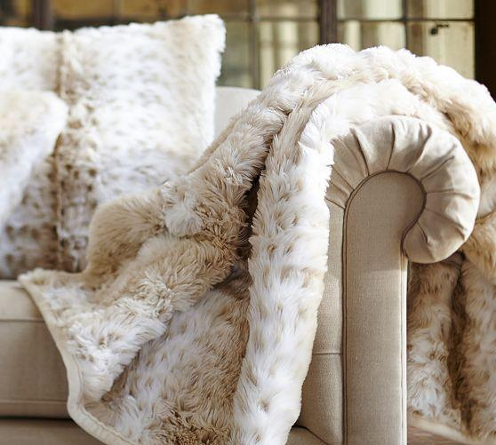 Faux Fur Cream Throw Light Fox