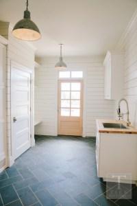 Slate Herringbone Floor - Contemporary - laundry room ...