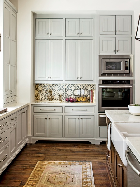 Gray Beadboard Cabinets  Cottage  kitchen  Sherwin