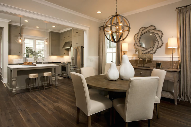 Gorgeous Open Concept Kitchen Dining Room With Khaki Colored Perimeter Cabinets Accented With