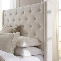 Wingback Button Tufted Cream Upholstered Headboard
