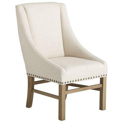 Linen Nailhead Dining Chair with Arms Natural Linen