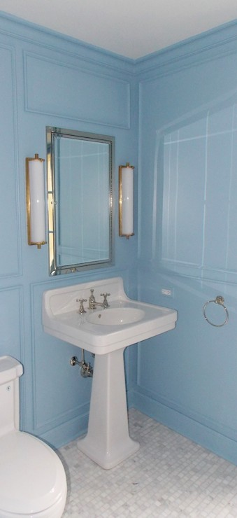 Calliope Bath Light  Transitional  bathroom  Farrow and Ball Lulworth Blue  Christine Dovey