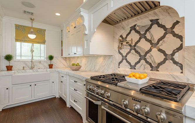 oil rubbed bronze kitchen faucet exhaust vent wall cap marble quatrefoil tiles - transitional space ...