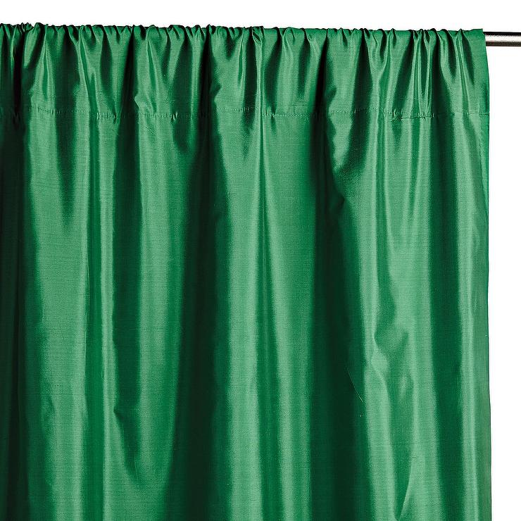 teal curtains for living room accessories set emerald green faux silk taffeta curtain panel