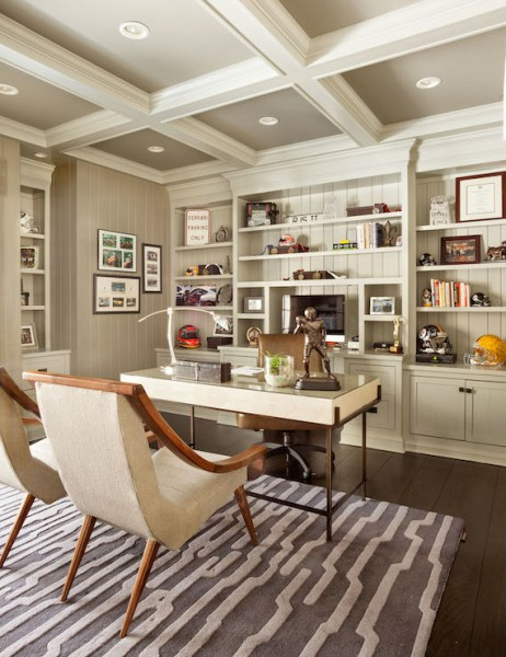 painted home office built ins Painted Coffered Ceiling - Transitional - den/library
