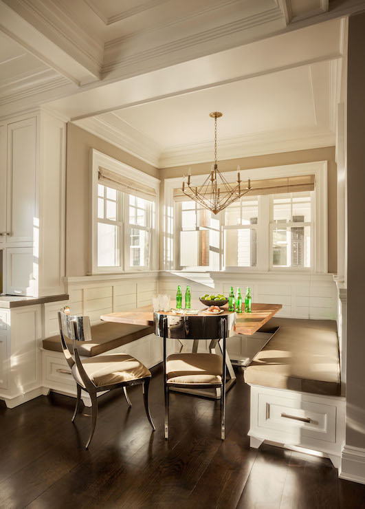 bay window kitchen curtains color choices for cabinets vaulted ceiling breakfast nook design ideas