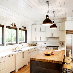 White Kitchen Island With Stools Rustic Chandelier Schoolhouse Electric Pendants - Cottage ...