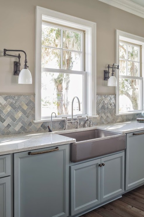 Cream Quartz Counters Transitional Kitchen Benjamin Moore Shale Reu Architects