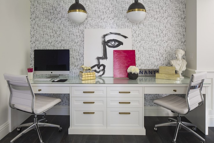 Built In Desk For Two Contemporary Den Library Office