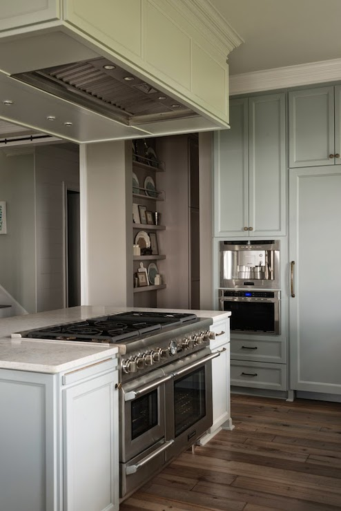 gray cabinets kitchen jk hood over island - transitional ...