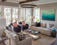 Tan and Navy Living Rooms - Transitional - living room ...
