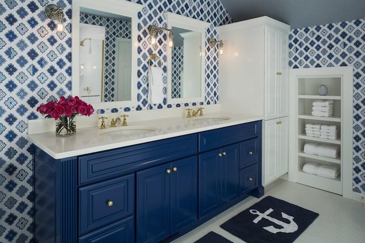 Blue Vanity  Contemporary  bathroom  Benjamin Moore