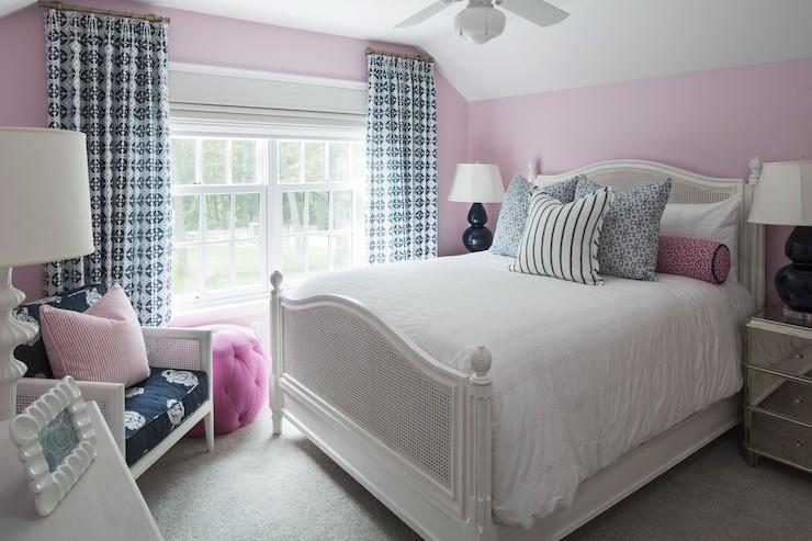 Girl Nursery With Wallpaper Navy Table Lamps Transitional Bedroom Benjamin Moore
