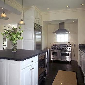 kitchen pass through window white island with stools range hood in front of design ideas