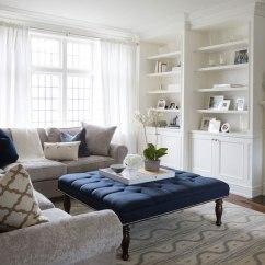 Purple Tufted Sofa Set Evette Ethan Allen Navy Ottoman - Transitional Living Room Flax Design