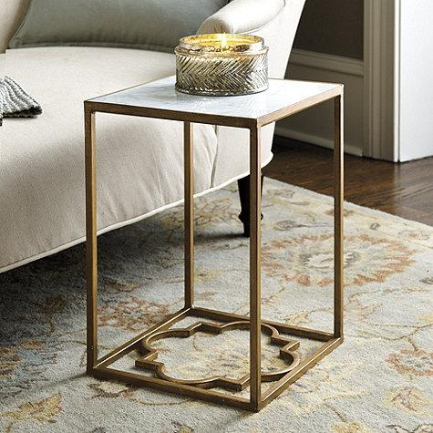 Glam White Marble Top Gold Side Table