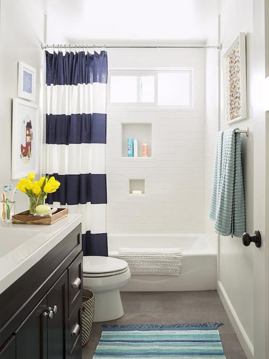 navy stripe shower curtain