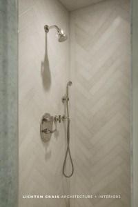 Herringbone Shower Tiles - Transitional - bathroom ...