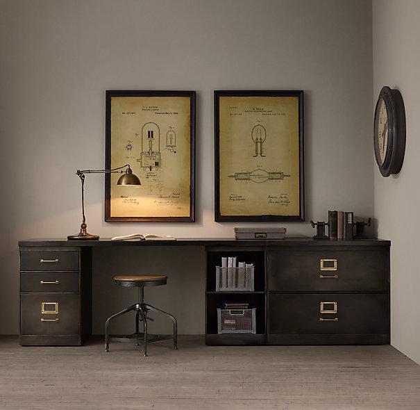 1940s Industrial Modular Grey Office Triple Storage Desk