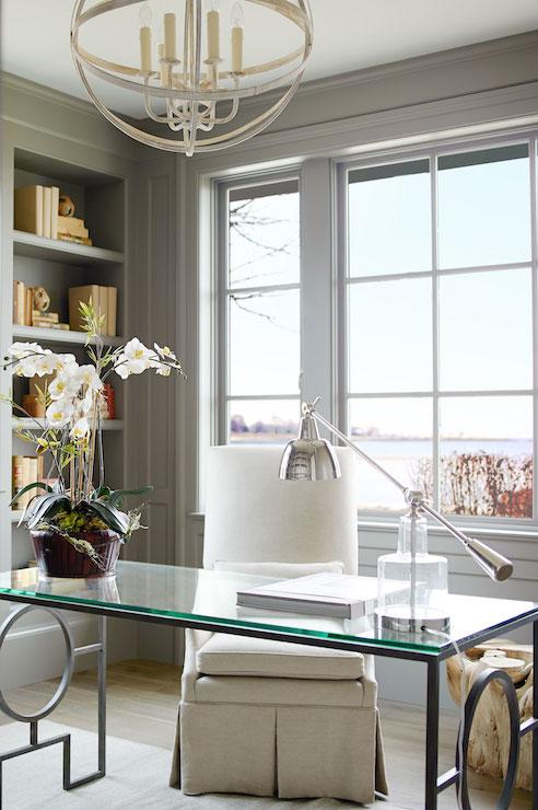 Glass Top Desk  Transitional  denlibraryoffice