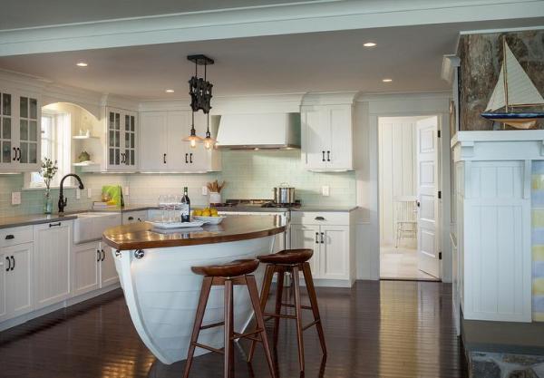 coastal style kitchen Boat Kitchen Islands - Cottage - kitchen - Ronald F DiMauro Architects