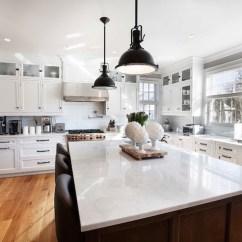 Large Kitchen Window Treatments Design Ideas Images Dark Brass Pendants - Transitional Farrow And ...