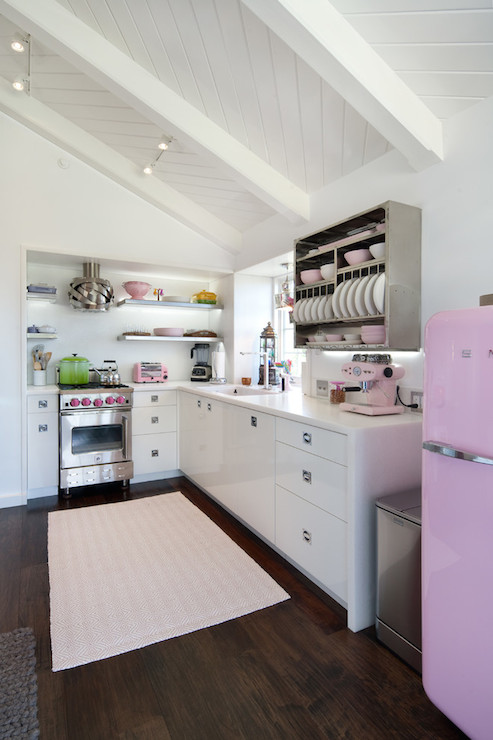 Wallpaper Country Girl Pink Smeg Fridge Eclectic Kitchen Jessica Risko