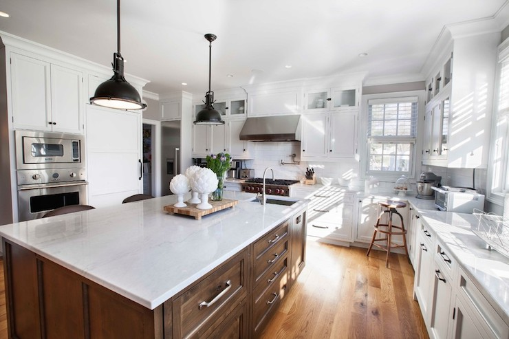 kitchen cabinets white modern pendant lights polished carrera marble - transitional ...
