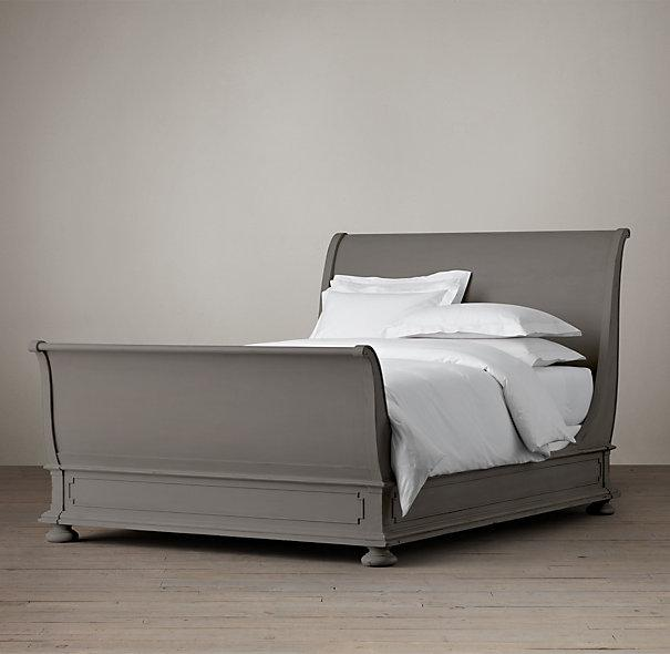 St James Grey Sleigh Bed With Footboard