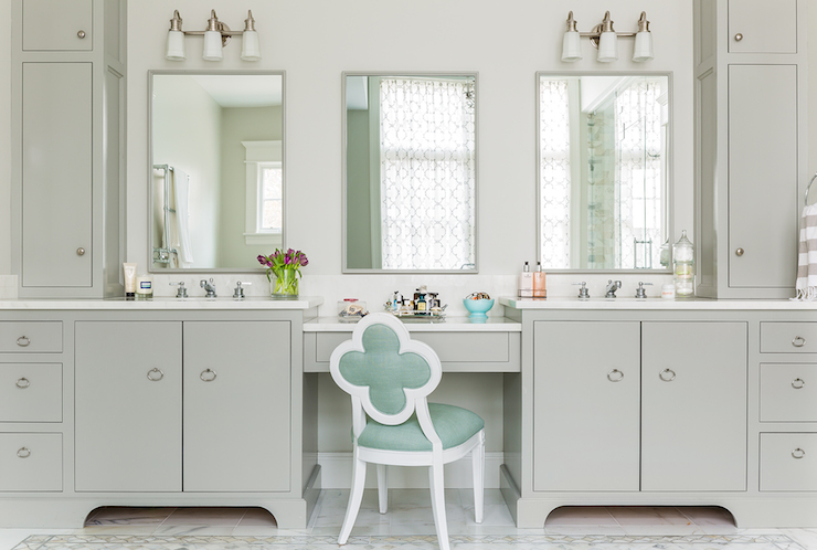 bathroom makeup chair used power chairs mint green vanity transitional erin gates design