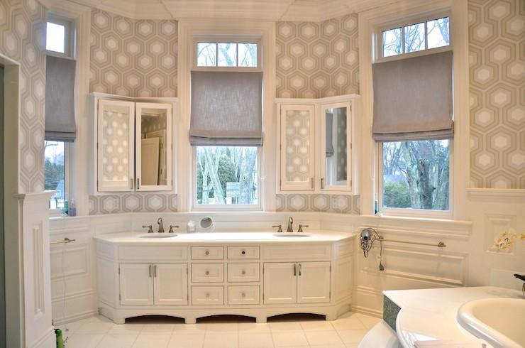 Hicks Hexagon Wallpaper  Transitional  bathroom  D2