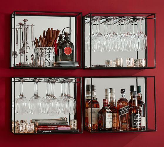 Mirrored Entertaining Black Shelves