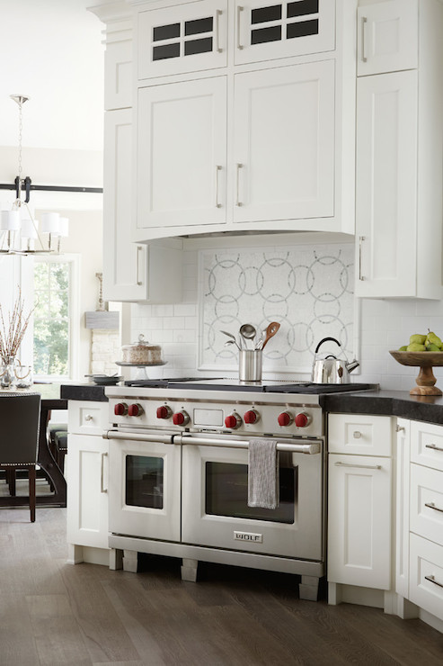 Light Gray Kitchen Cabinets with Black Lacanche Range