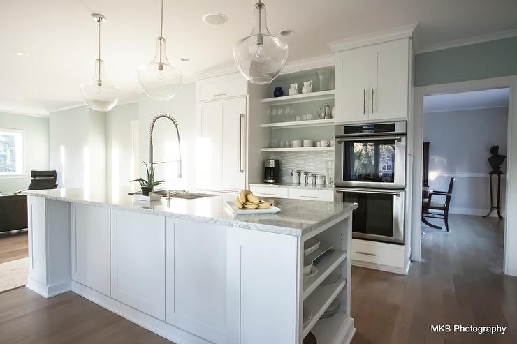brushed nickel kitchen hardware breakfast bar island bianco romano granite countertops - contemporary ...