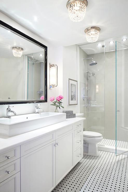 Beaded Flush Mount  Transitional  bathroom  Rob Stuart Interiors