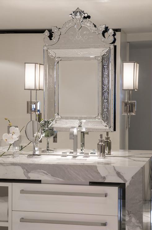 Bathroom with Mirrored Accent Wall  Modern  Bathroom
