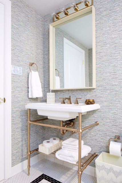 Brass Washstand  Eclectic  bathroom  Natalie Clayman