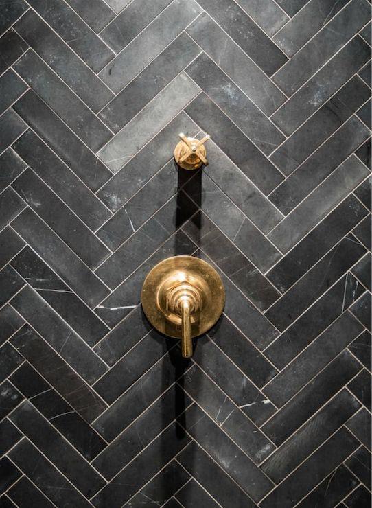 slate herringbone tiles contemporary