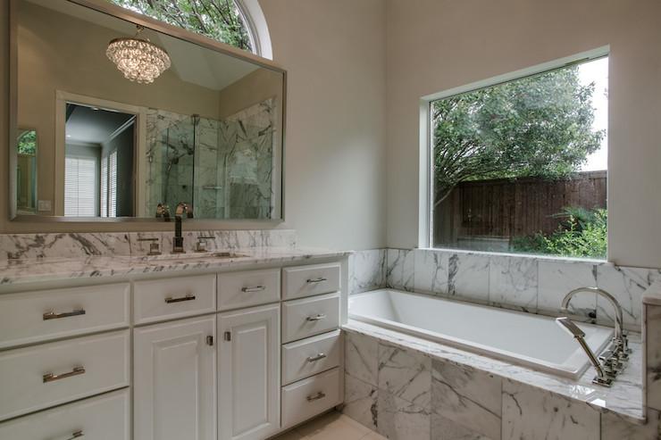 Marble Tiled Tub  Transitional  bathroom