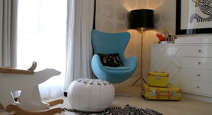 blue nursery chair balcony table and sets nurseries turquoise design ideas fabulous features walls clad in silver dot wallpaper framing window dressed black white curtains alongside a egg illuminated by