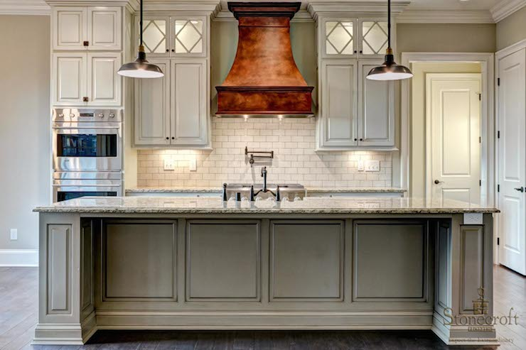 Copper Range Hood  Transitional  kitchen  Stonecroft Homes