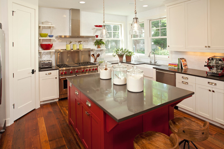 red kitchen islands base cabinets with drawers island transitional benjamin moore